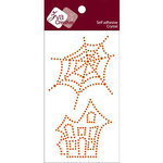Zva Creative - Self-Adhesive Crystals - Spider Web and Spooky House - Orange, CLEARANCE