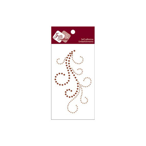 Zva Creative - Self-Adhesive Crystals - Flourish 4 - Champagne and Chocolate