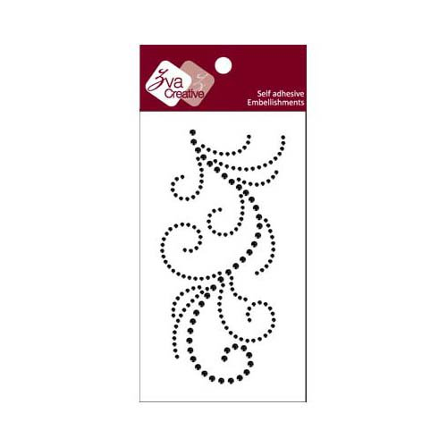 Zva Creative - Self-Adhesive Crystals - Flourish 13 - Jet