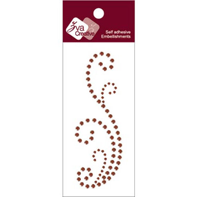 Zva Creative - Self-Adhesive Crystals - Small Flourish 1 - Chocolate
