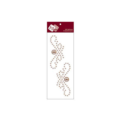 Zva Creative - Self-Adhesive Pearls - Small Symmetrical Flourishes 1 - Taupe