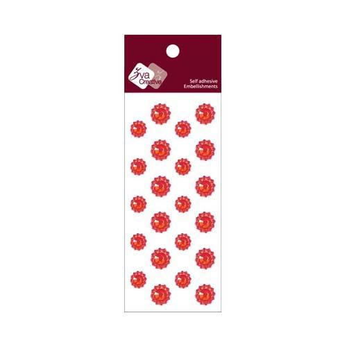 Zva Creative - Self-Adhesive Crystals - Mini Flowers - Red