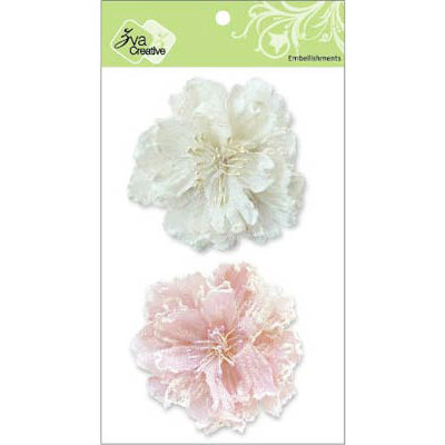 Zva Creative - Flower Embellishments - Bahama Botanicals - White and Pink