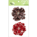 Zva Creative - Flower Embellishments - Bahama Botanicals - Chestnut and Scarlet