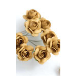 Zva Creative - 5/8 Inch Paper Roses - Bulk - Ginger, CLEARANCE