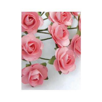 Zva Creative - 7/8 Inch Paper Roses - Bulk - Pink, CLEARANCE