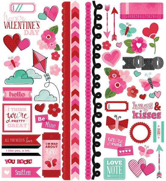american crafts paper   xoxo collection   remarks   sticker sheet