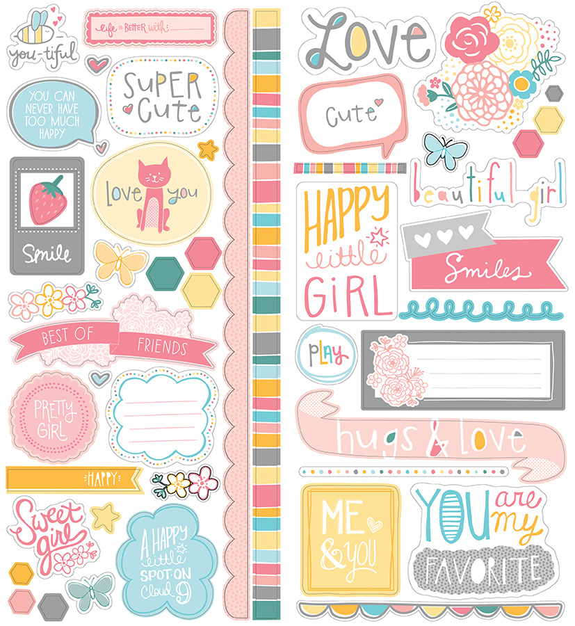 american crafts   my girl collection   remarks   cardstock stickers