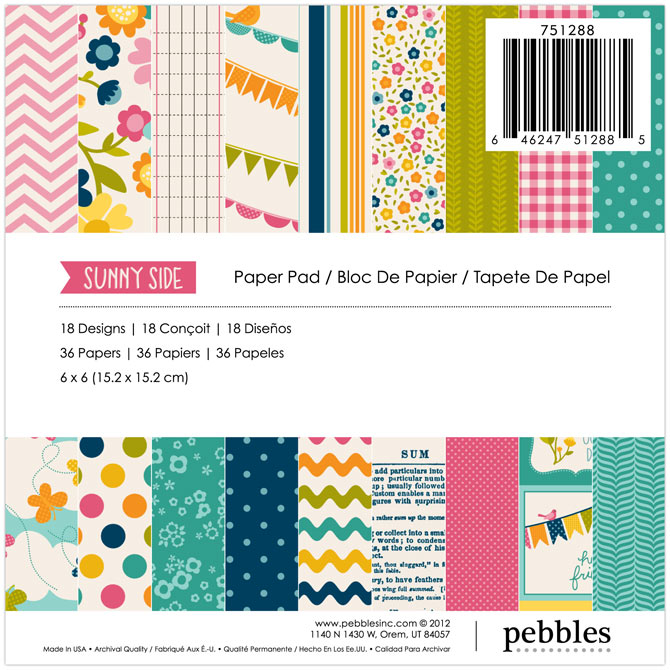 american crafts   pebbles   sunnyside collection   6 x 6 paper pad