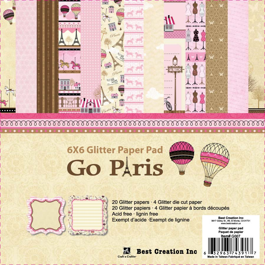 Best creation inc go paris collection 6 x 6 glitter - Boutique scrapbooking paris ...