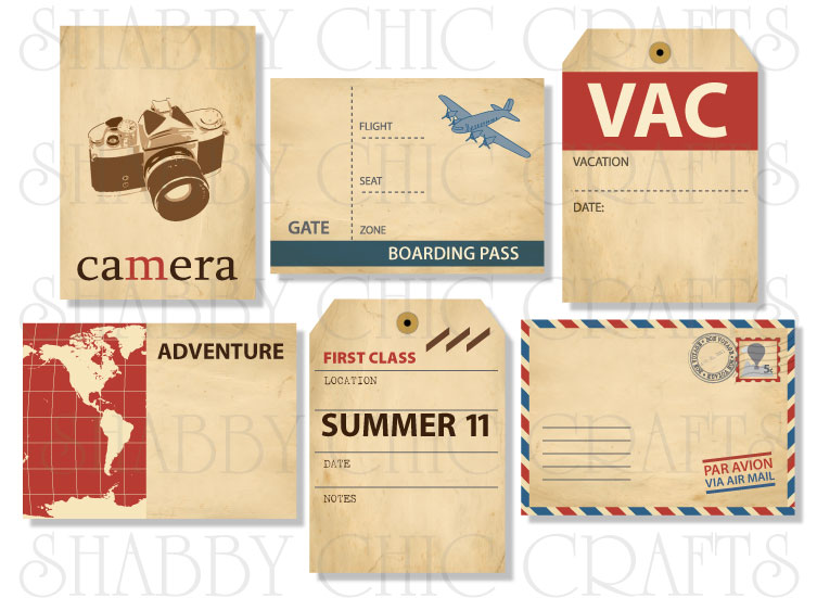 chic tags delightful paper tags bon voyage artist trading cards set of 6. Black Bedroom Furniture Sets. Home Design Ideas