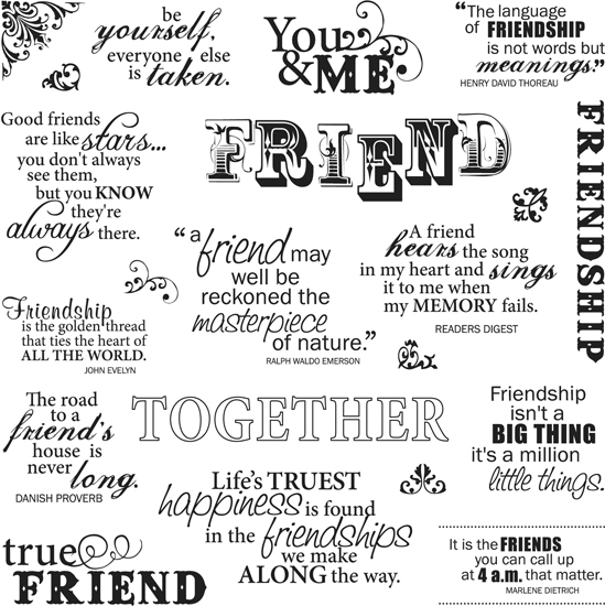 Fiskars Clear Acrylic Stamps 8 X 8 Friends Forever
