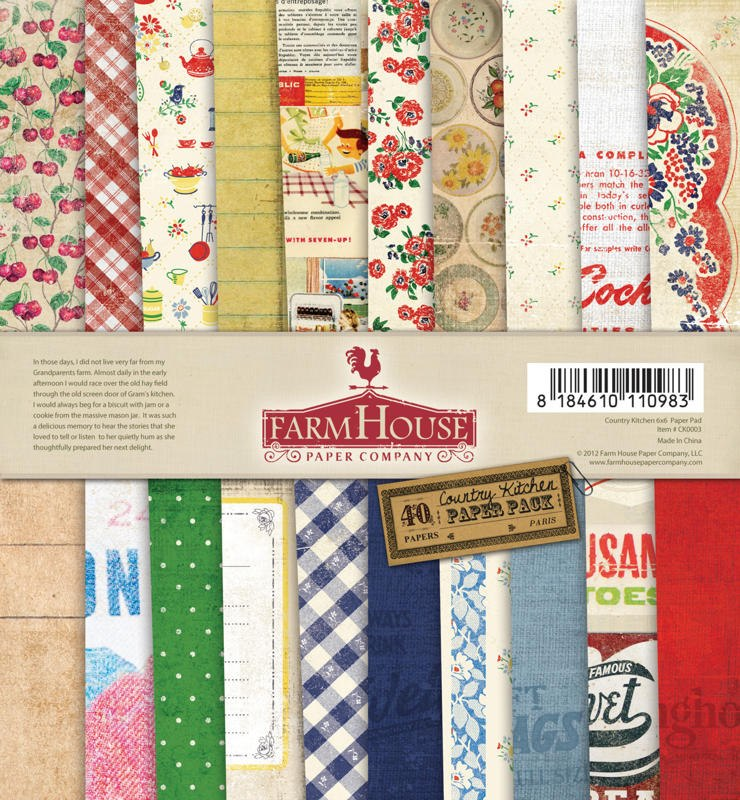 farm house 6 x 6 country kitchen paper pad