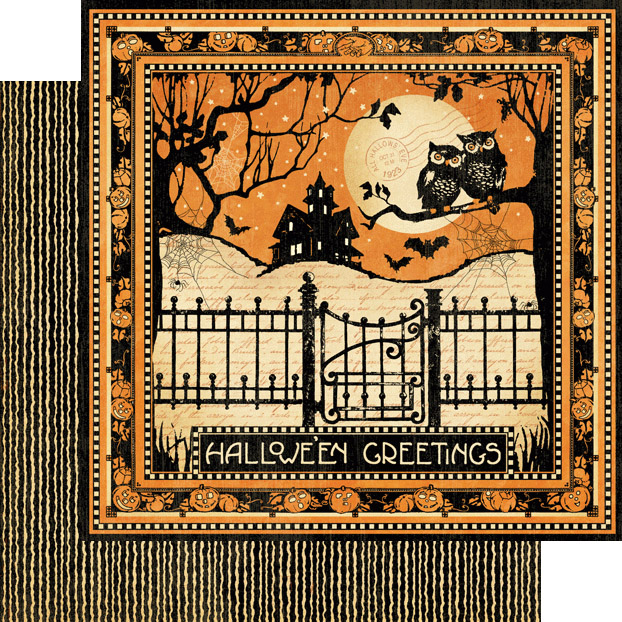 Graphic 45 Happy Haunting Collection Halloween 12 X 12 Double Sided Paper Fright Night