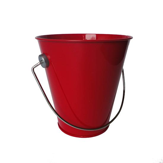 Hampton art tin pail small red for Tiny metal buckets