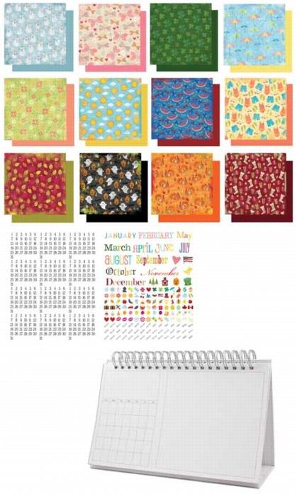Calendar Typography Kit : Karen foster design desktop flip calendar kit