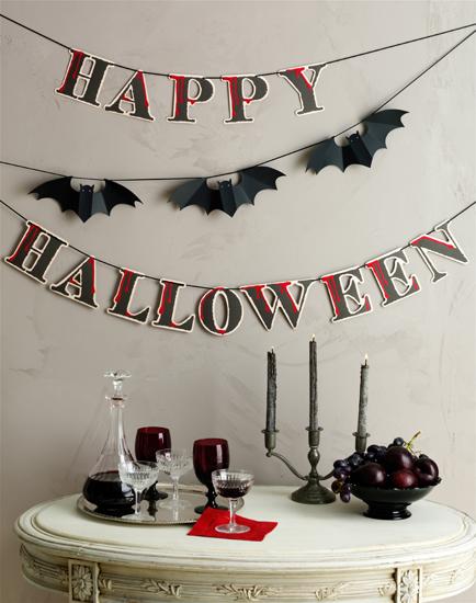 Martha stewart crafts halloween garland with glitter for Halloween girlande